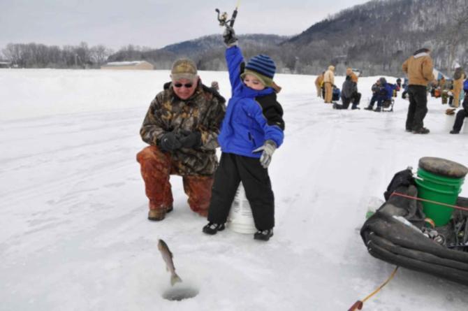 Ice fishing in full swing